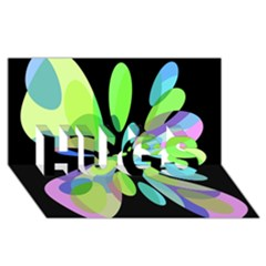 Green Abstract Flower Hugs 3d Greeting Card (8x4)
