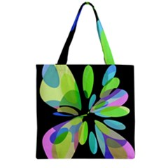 Green Abstract Flower Grocery Tote Bag by Valentinaart