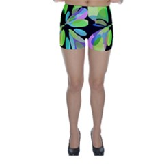 Green Abstract Flower Skinny Shorts by Valentinaart
