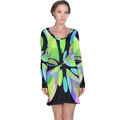 Green Abstract Flower Long Sleeve Nightdress by Valentinaart