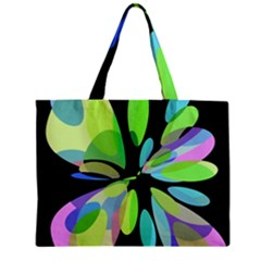 Green Abstract Flower Zipper Mini Tote Bag by Valentinaart