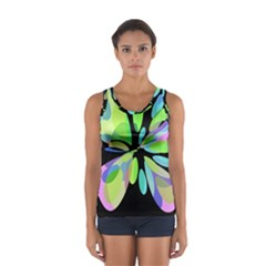 Green Abstract Flower Women s Sport Tank Top  by Valentinaart
