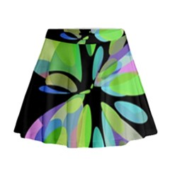 Green Abstract Flower Mini Flare Skirt by Valentinaart
