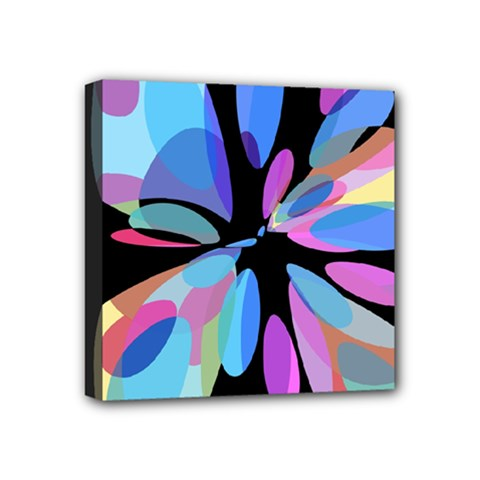 Blue Abstract Flower Mini Canvas 4  X 4  by Valentinaart