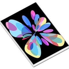 Blue Abstract Flower Large Memo Pads by Valentinaart