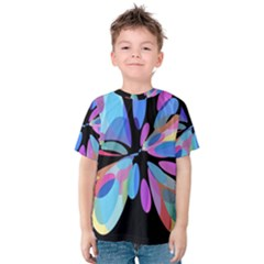 Blue Abstract Flower Kid s Cotton Tee by Valentinaart