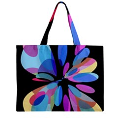 Blue Abstract Flower Zipper Mini Tote Bag by Valentinaart