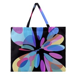 Blue Abstract Flower Zipper Large Tote Bag by Valentinaart