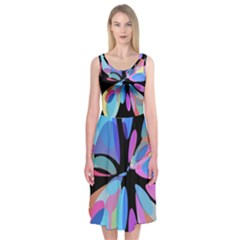 Blue Abstract Flower Midi Sleeveless Dress by Valentinaart