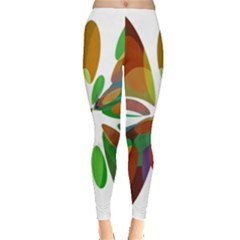 Colorful Abstract Flower Leggings  by Valentinaart