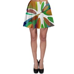 Colorful Abstract Flower Skater Skirt by Valentinaart