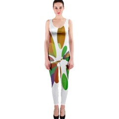 Colorful Abstract Flower Onepiece Catsuit by Valentinaart