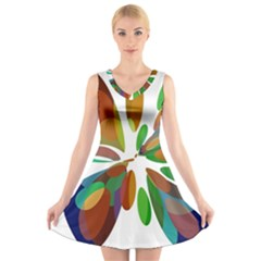 Colorful Abstract Flower V Neck Sleeveless Skater Dress by Valentinaart