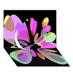 Pink Abstract Flower Circle 3d Greeting Card (7x5)