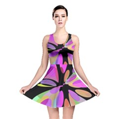 Pink Abstract Flower Reversible Skater Dress by Valentinaart