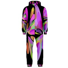 Pink Abstract Flower Hooded Jumpsuit (men)  by Valentinaart