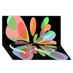 Colorful Abstract Flower Twin Heart Bottom 3d Greeting Card (8x4)  by Valentinaart