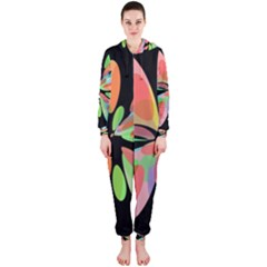 Colorful Abstract Flower Hooded Jumpsuit (ladies)  by Valentinaart