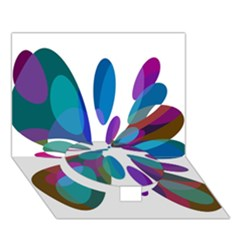 Blue Abstract Flower Circle Bottom 3d Greeting Card (7x5)