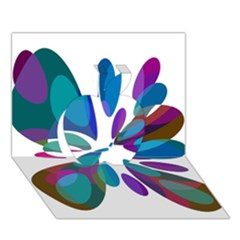 Blue Abstract Flower Apple 3d Greeting Card (7x5)  by Valentinaart