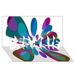 Blue Abstract Flower Best Sis 3d Greeting Card (8x4)  by Valentinaart