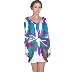 Blue Abstract Flower Long Sleeve Nightdress by Valentinaart