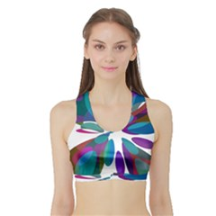 Blue Abstract Flower Sports Bra With Border by Valentinaart