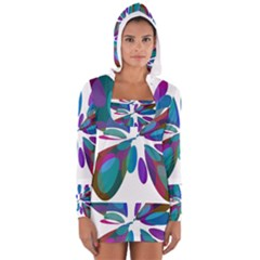 Blue Abstract Flower Women s Long Sleeve Hooded T Shirt by Valentinaart