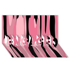 Black And Pink Camo Abstract Engaged 3d Greeting Card (8x4)