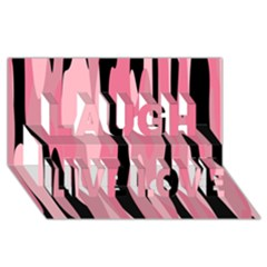 Black And Pink Camo Abstract Laugh Live Love 3d Greeting Card (8x4)  by TRENDYcouture