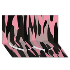 Pink And Black Camouflage Abstract 2 Twin Heart Bottom 3d Greeting Card (8x4)  by TRENDYcouture