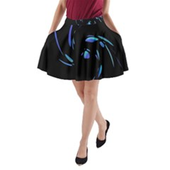 Blue Twist A Line Pocket Skirt by Valentinaart
