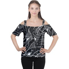 Gray Abstraction Women s Cutout Shoulder Tee by Valentinaart