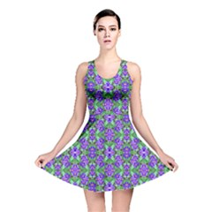 Pretty Purple Flowers Pattern Reversible Skater Dress by BrightVibesDesign