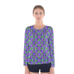Pretty Purple Flowers Pattern Women s Long Sleeve Tee by BrightVibesDesign