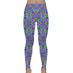 Pretty Purple Flowers Pattern Yoga Leggings by BrightVibesDesign