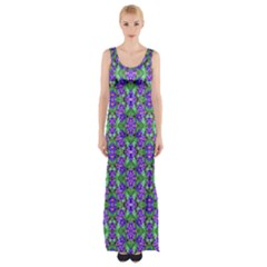 Pretty Purple Flowers Pattern Maxi Thigh Split Dress by BrightVibesDesign