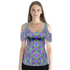 Pretty Purple Flowers Pattern Butterfly Sleeve Cutout Tee  by BrightVibesDesign