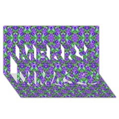 Pretty Purple Flowers Pattern Merry Xmas 3d Greeting Card (8x4)  by BrightVibesDesign