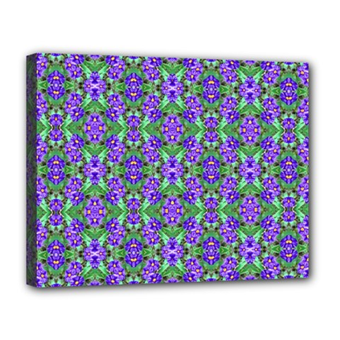 Pretty Purple Flowers Pattern Canvas 14  X 11  by BrightVibesDesign