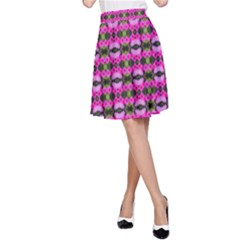 Pretty Pink Flower Pattern A Line Skirt by BrightVibesDesign