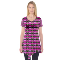 Pretty Pink Flower Pattern Short Sleeve Tunic  by BrightVibesDesign