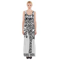 Jt Zebra Stipes 11 X 17 Maxi Thigh Split Dress by WickedCool