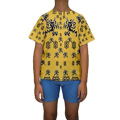 Disco Dancing In The  Tribal Nature  Kid s Short Sleeve Swimwear by pepitasart