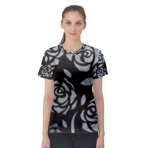 Black Flower Women s Sport Mesh Tee by Contest2348538