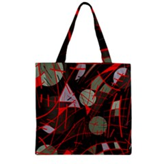 Artistic Abstraction Zipper Grocery Tote Bag by Valentinaart