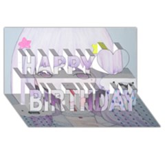 My Little Cloud 2 Happy Birthday 3d Greeting Card (8x4)  by kaoruhasegawa