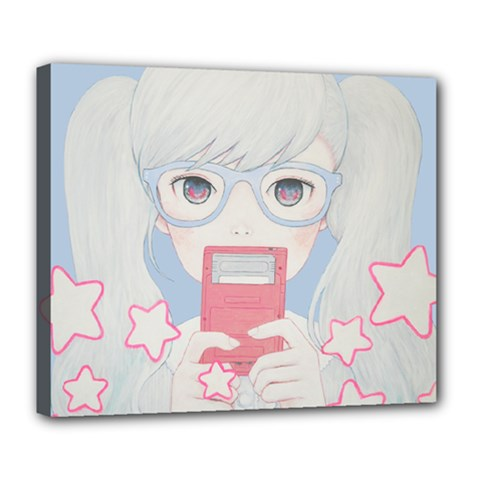 Gamegirl Girl Play With Star Deluxe Canvas 24  X 20