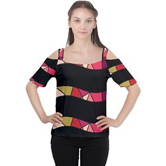 Abstract Waves Women s Cutout Shoulder Tee