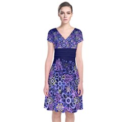 Night Flowers Short Sleeve Front Wrap Dress by olgart